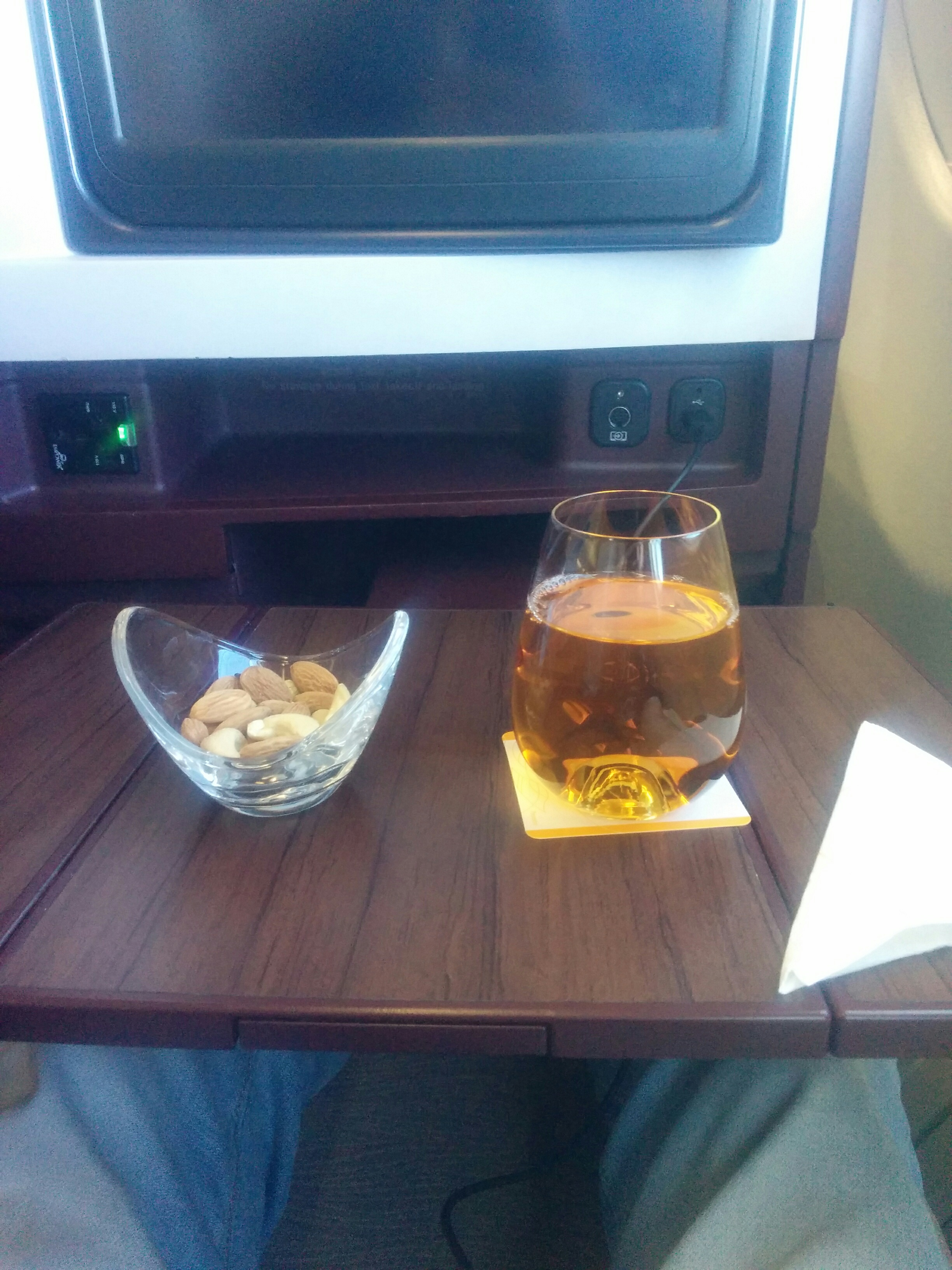 Apple Juice and Nuts in Business Class - Jet Airways