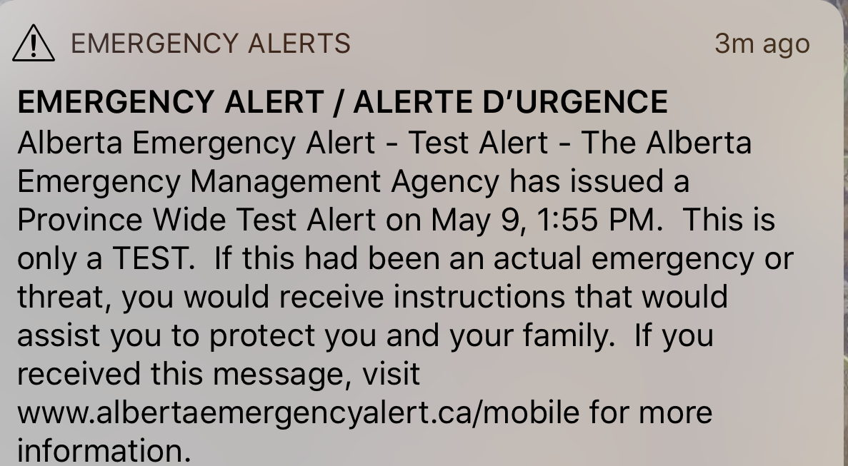 Emergency Alerts after entering into Alberta (to be ignored)